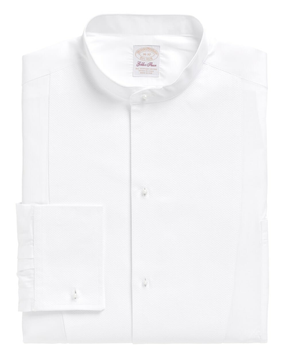 Brooks Brothers White Tie shirt with stiff single cuffs incorrectly described as French Cuff Tuxedo shirt