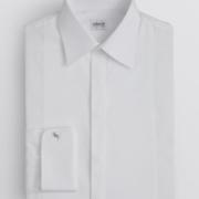 Fly front pleated tuxedo shirt