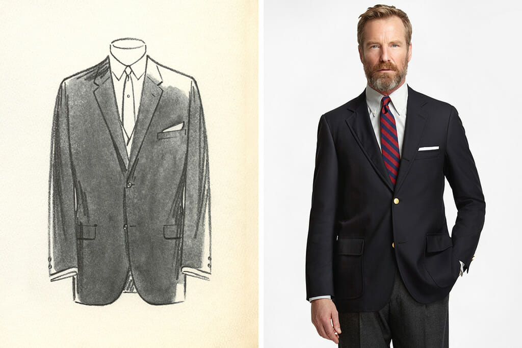 Sack Suit by Brooks Brothers without vertical front darts