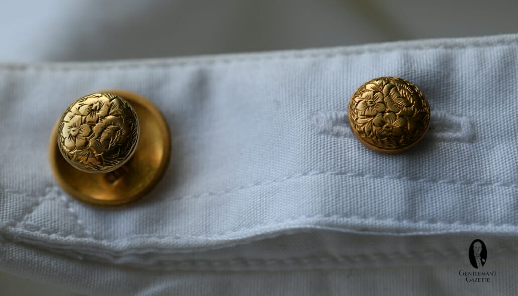 Vintage Decorated 14k gold collar shirt studs to attach your collar to your shirt. The front one needs to have double spacing as it has to go through 4 layers vs just 2 in the back