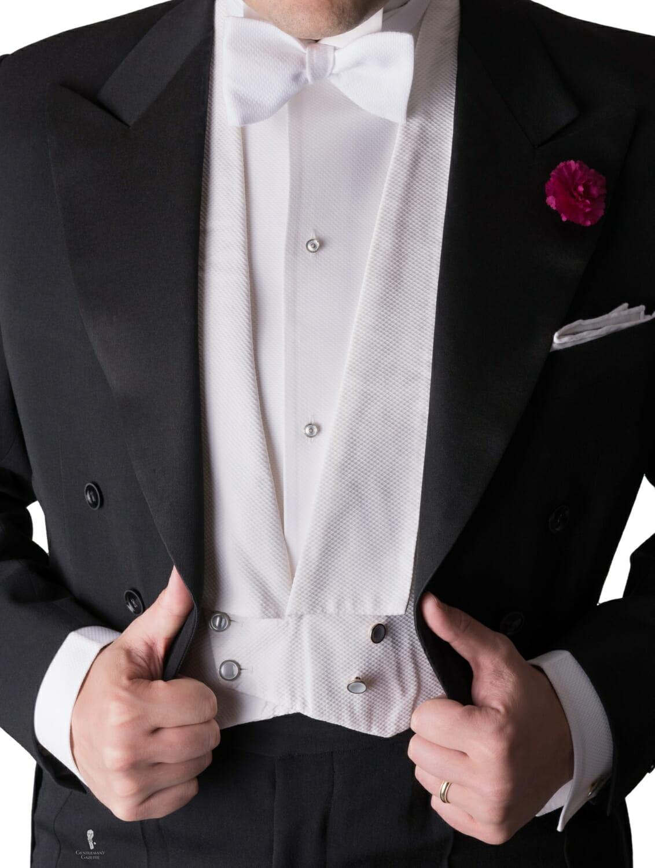 White Tie Evening Full Dress Waistcoar or Vest in Marcella Piqu