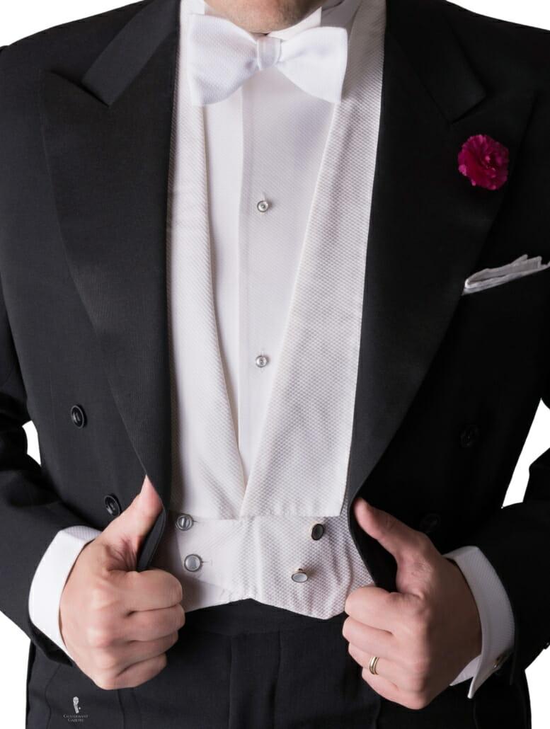 White Tie Evening Full Dress Waistcoar or Vest in Marcella Piqué
