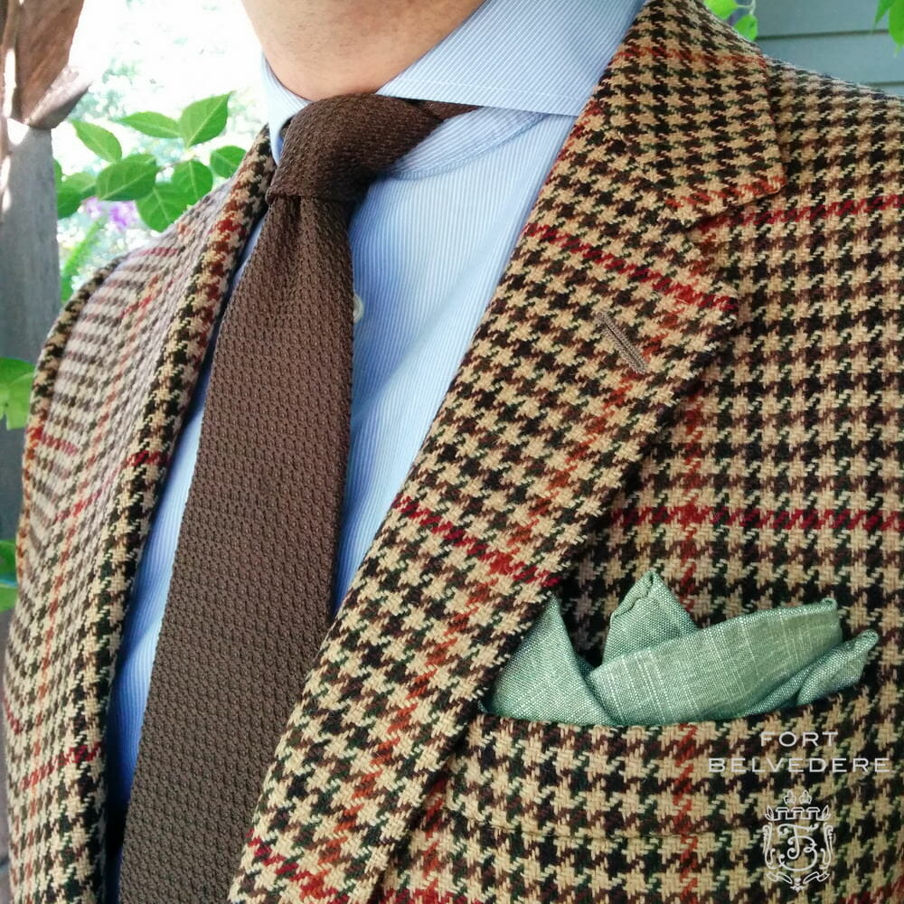 Brown Grenadine Bow Tie & Green Linen Pocket Square by Fort Belvedere