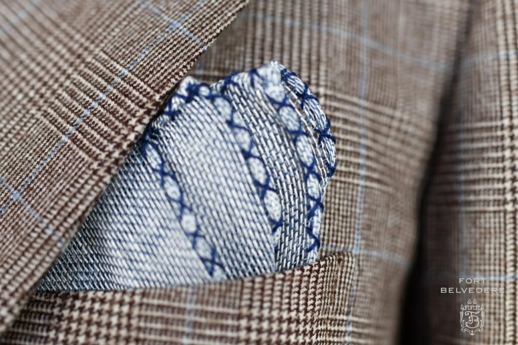 Dark Blue Handcrafted Linen Pocket Square with Navy Blue Handrolled X Stitch Fort Belvedere