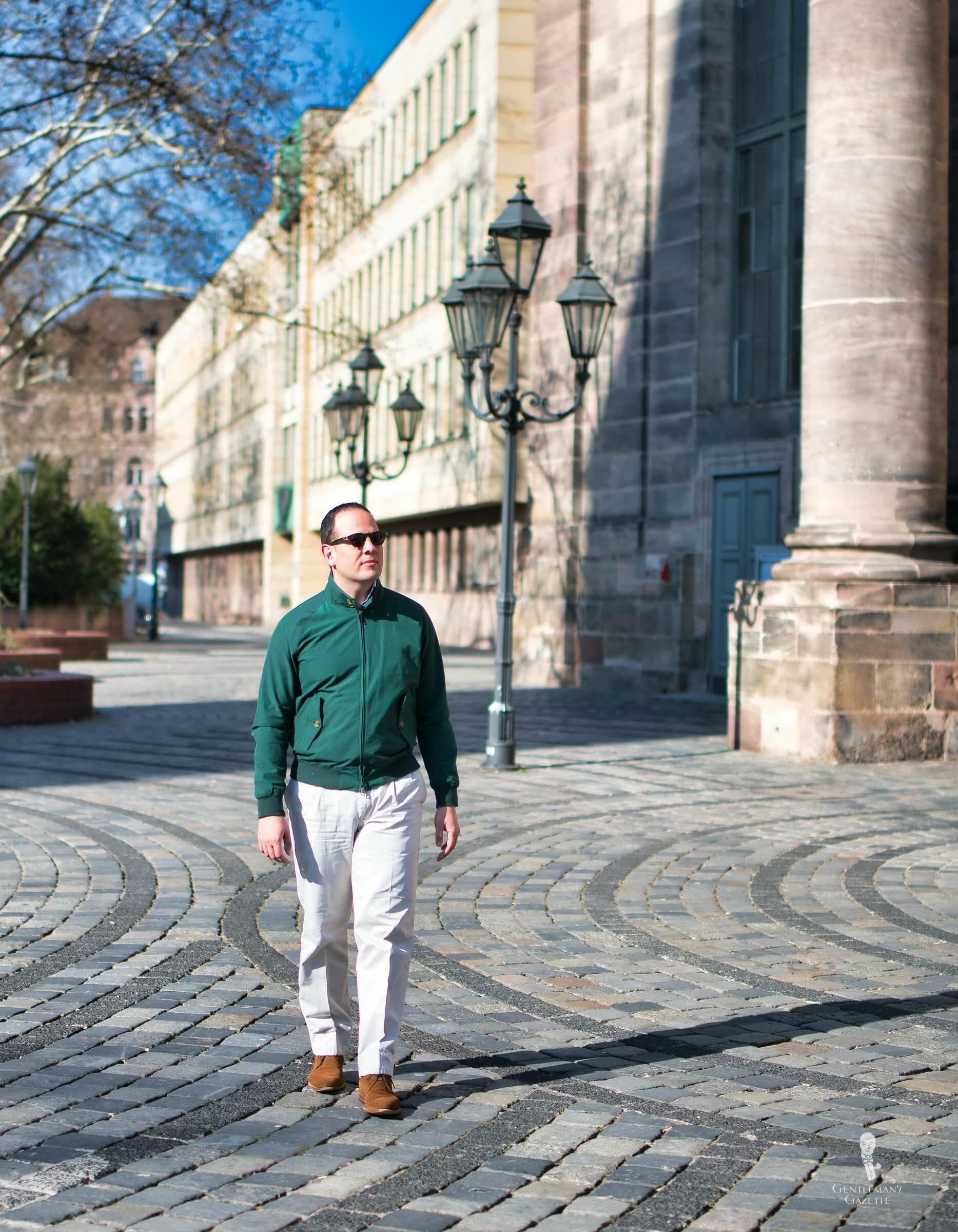 Sven Raphael Schneider in green Baracuta G9 Harrington Jacket with Chino