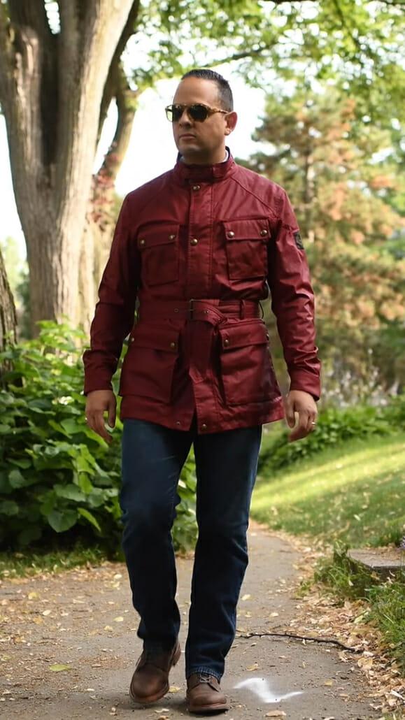 Sven Raphael Schneider in Red Belstaff Trialmaster Waxed Cotton Motorcycle Jacket