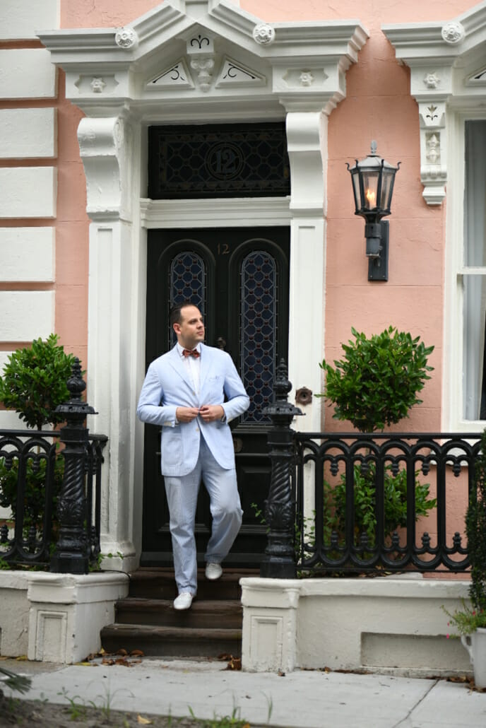 Sven Raphael Schneider, in a seersucker suit and white brogues, knows that style knows no age