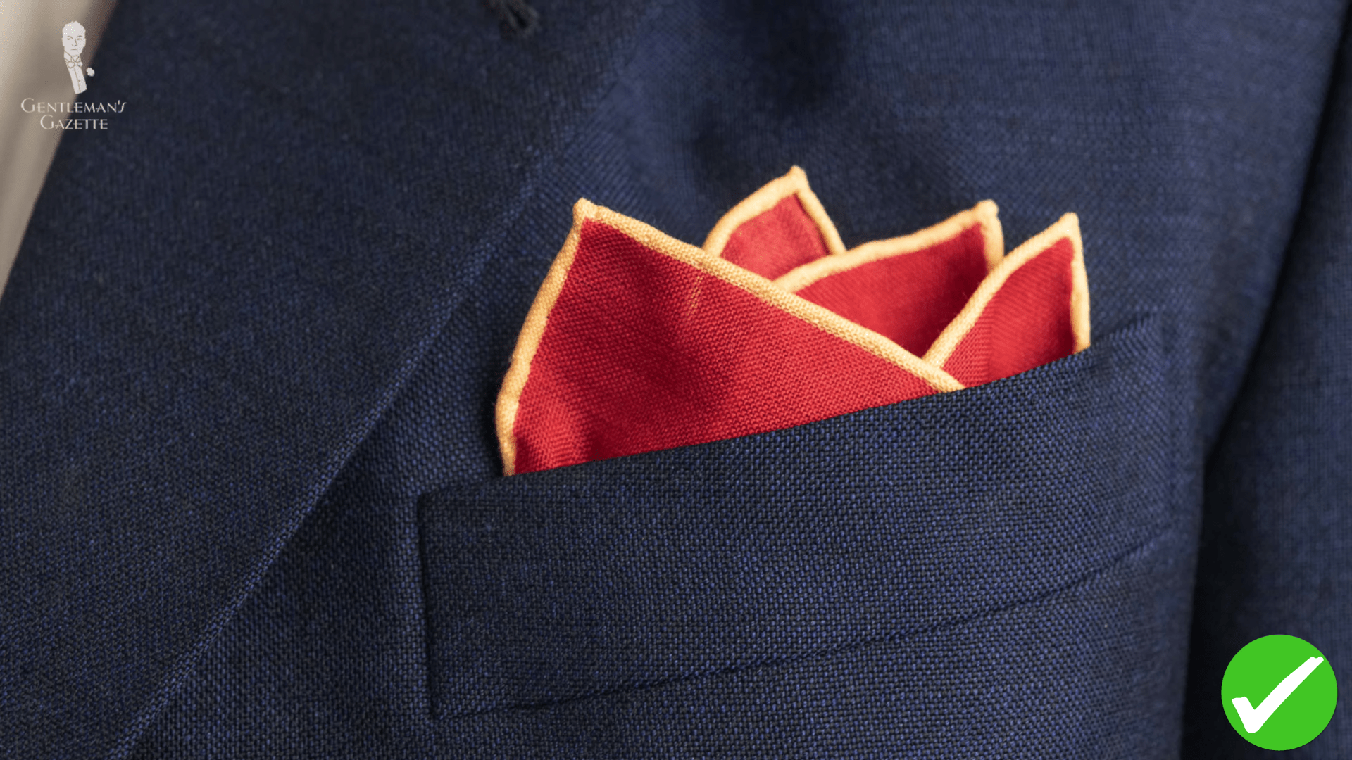 Red pocket square with yellow edges
