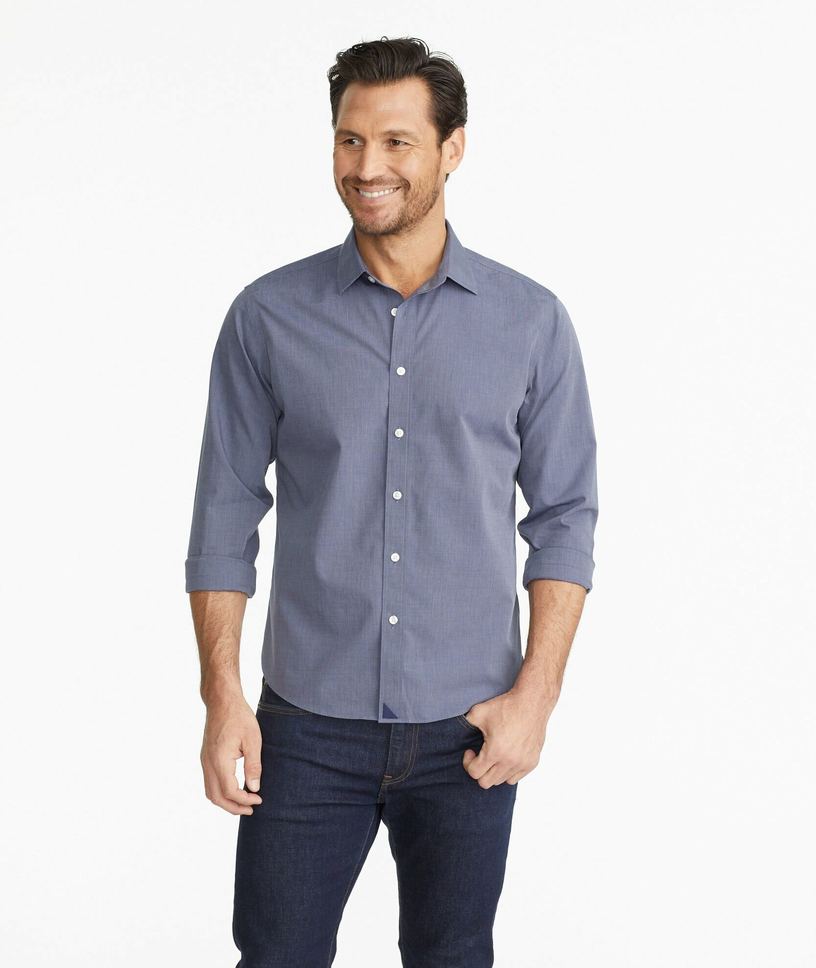 Untuckit has made a name producing shirts with a straight hem to wear untucked