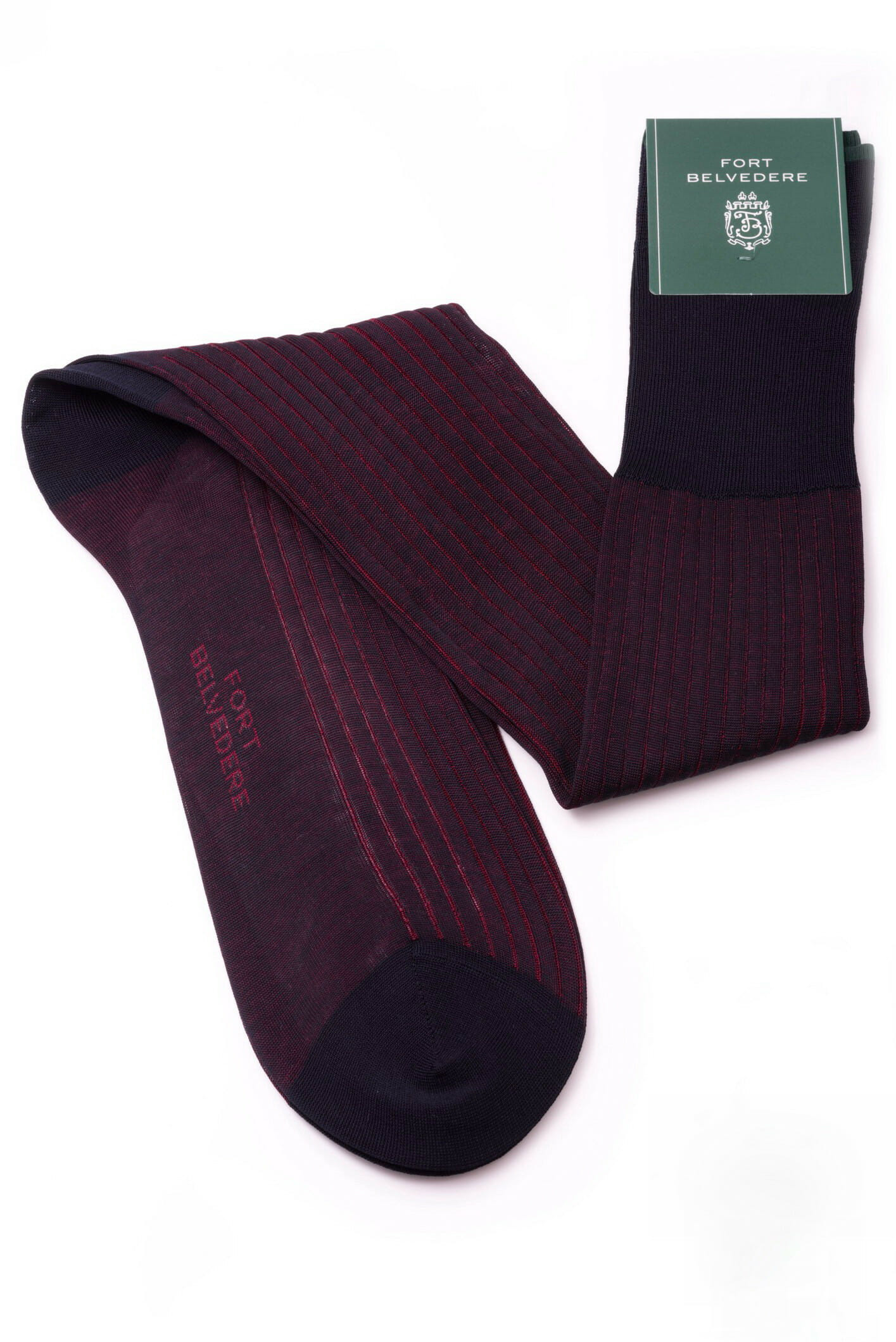 Midnight Blue and Burgundy Shadow Stripe Ribbed Socks Fil d'Ecosse Cotton - Fort Belvedere
