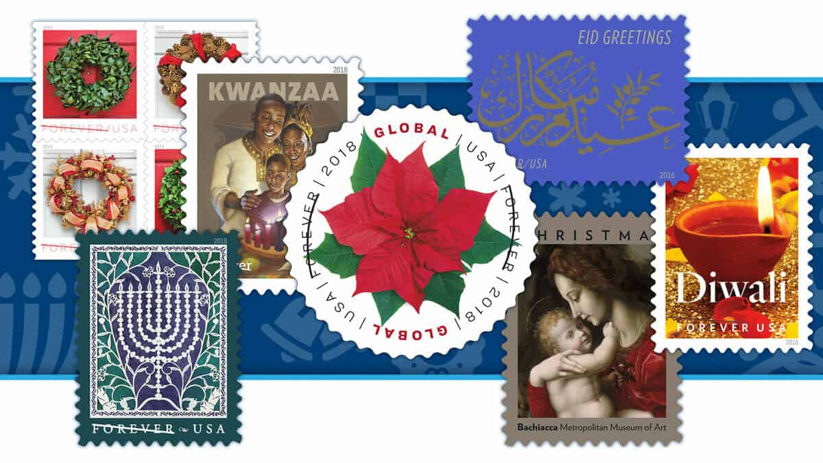US holiday postage stamps