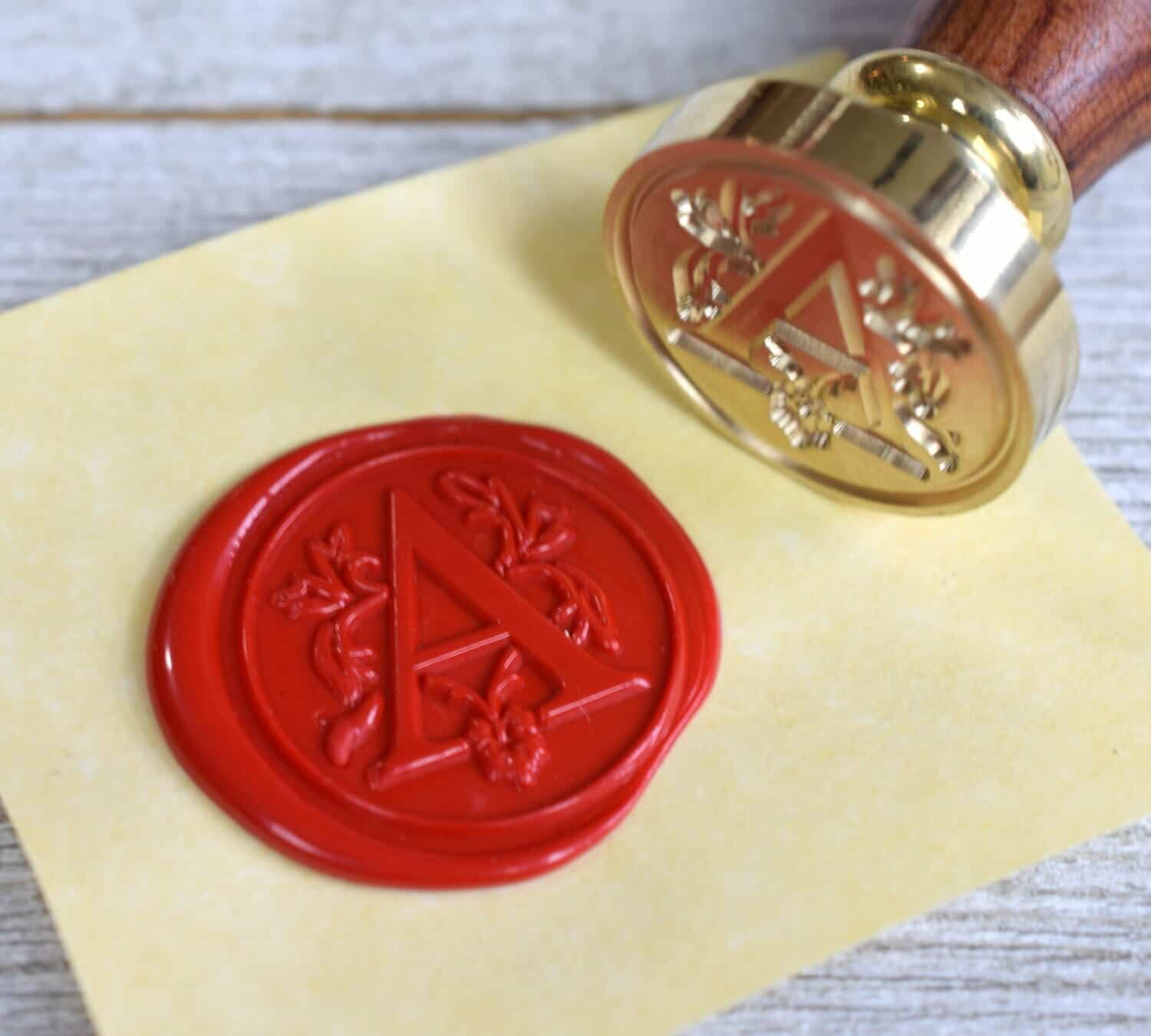 Red wax seal and brass stamp