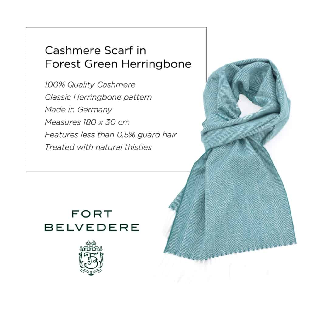 Fort Belvedere Cashmere Scarf in Forest Green