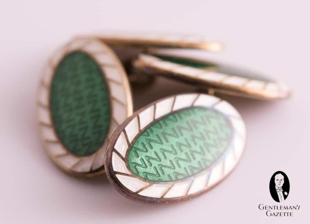 Vintage Green Enamel Cufflinks