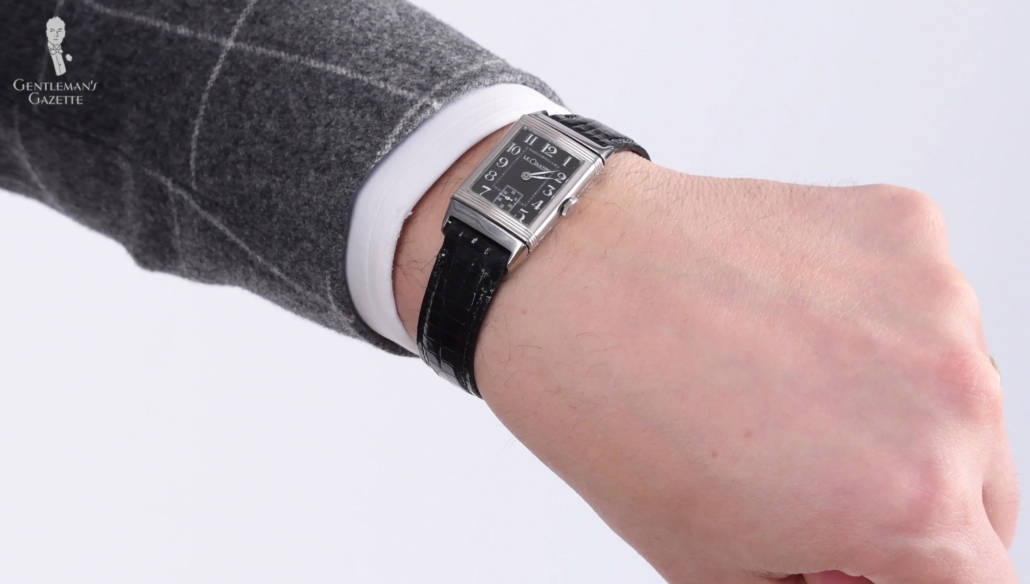 1930 Stainless Stell Reverso Watch from Jaeger-LeCoultre on Raphael's wrist