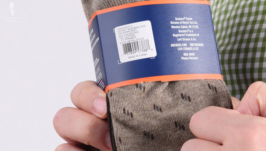but a sock doesn't contain them all, actually common socks are usually made up of 3 yarns