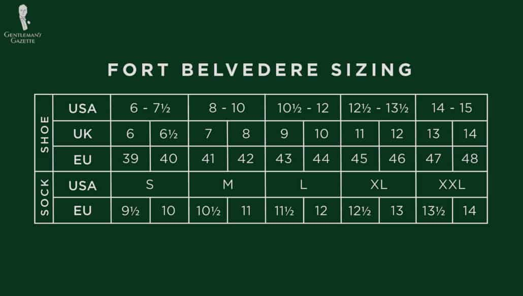 Fort Belvedere Sizing Chart