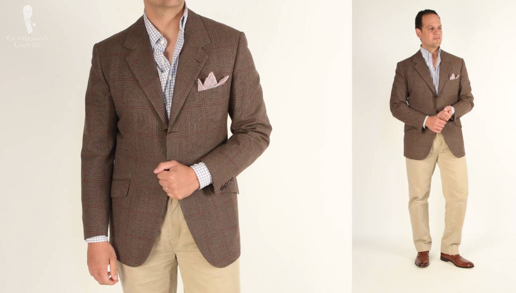 While featuring the same shirt and trousers, this look features a more casual patterned jacket.