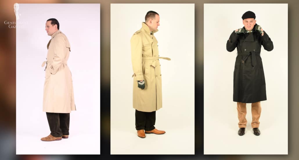 A selection of trench coats in different colors.