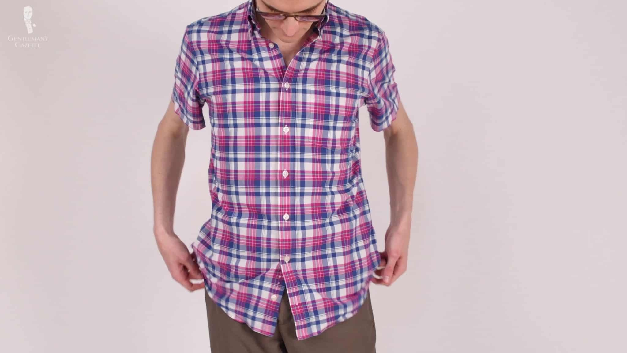 Preston wearing his Charles Tyrwhitt short-sleeved dress shirt.