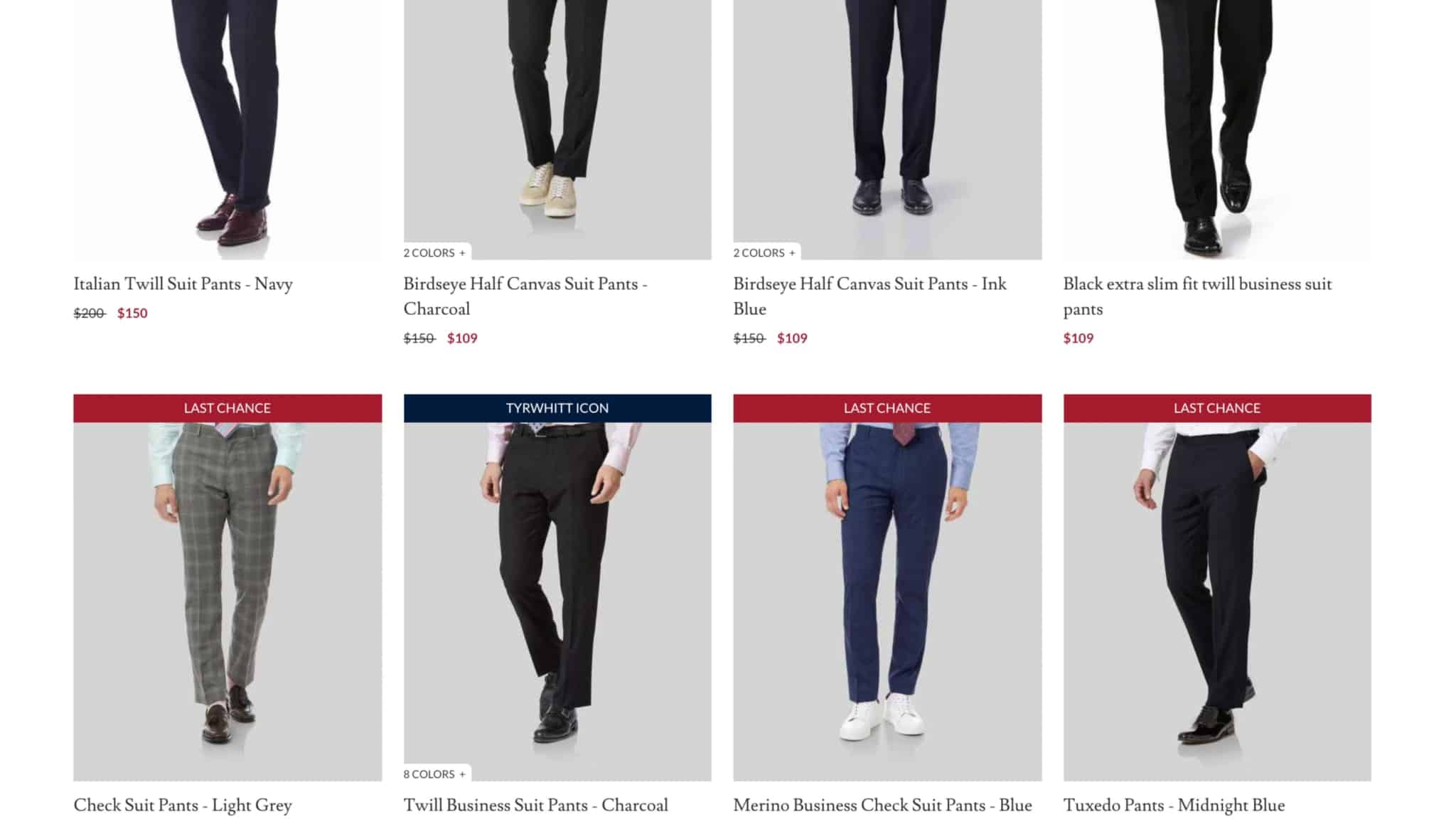 Most of the commenters are not in favor of the trousers from Charles Tyrwhitt.