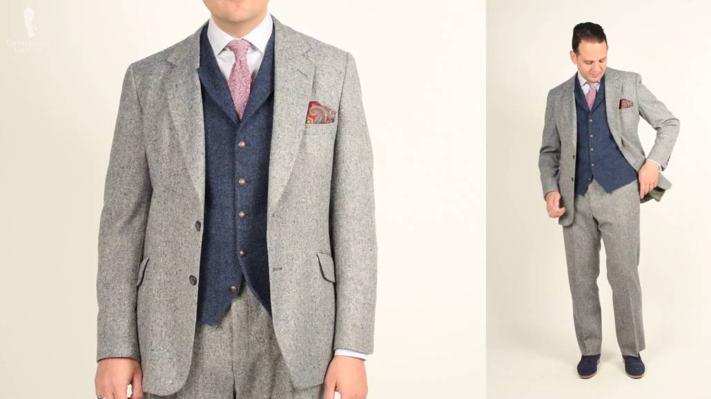Raphael in a Gray Donegal tweed jacket, blue vest pink mottled knit tie and pocket square