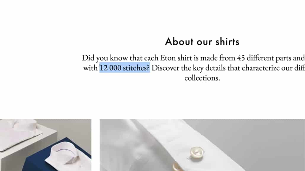 Eton claims that their shirts have a total of 12 000 stitches each - no, we didn't count them.