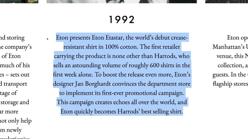 Eton started their non-iron shirts in 1992
