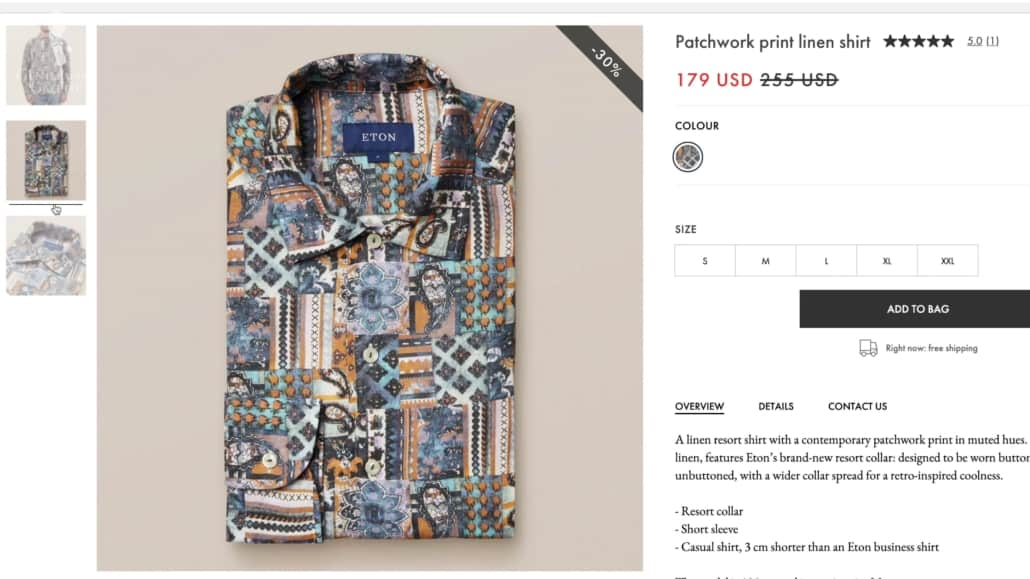 Eton is for you if you like shirts with bolder prints.