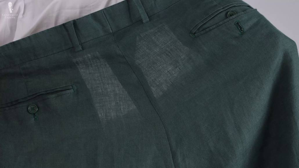 Linen materials are weaker when wet.