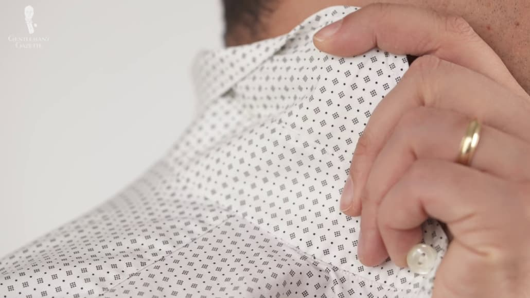 Eton shirts only has sewn-in plastic flexible collar stays, so a stiffer collar is not an option.