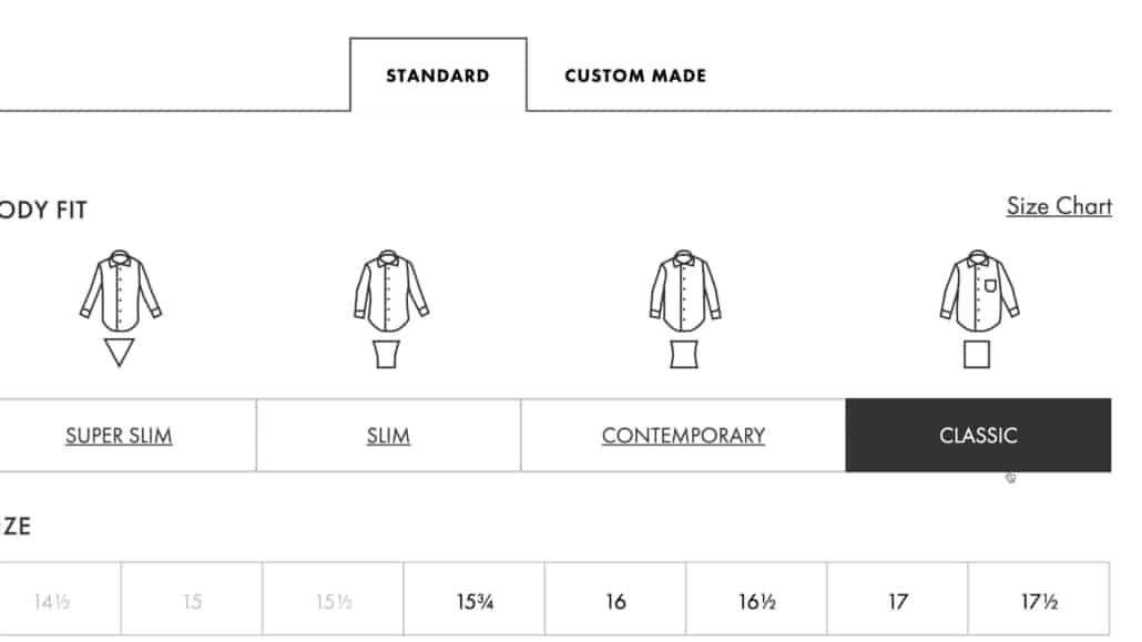Eton offers four fit options off the rock: slim, super slim, contemporary, and classic.