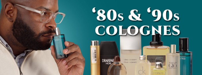 80s and 90s retro colognes cover with Kyle smelling cologne