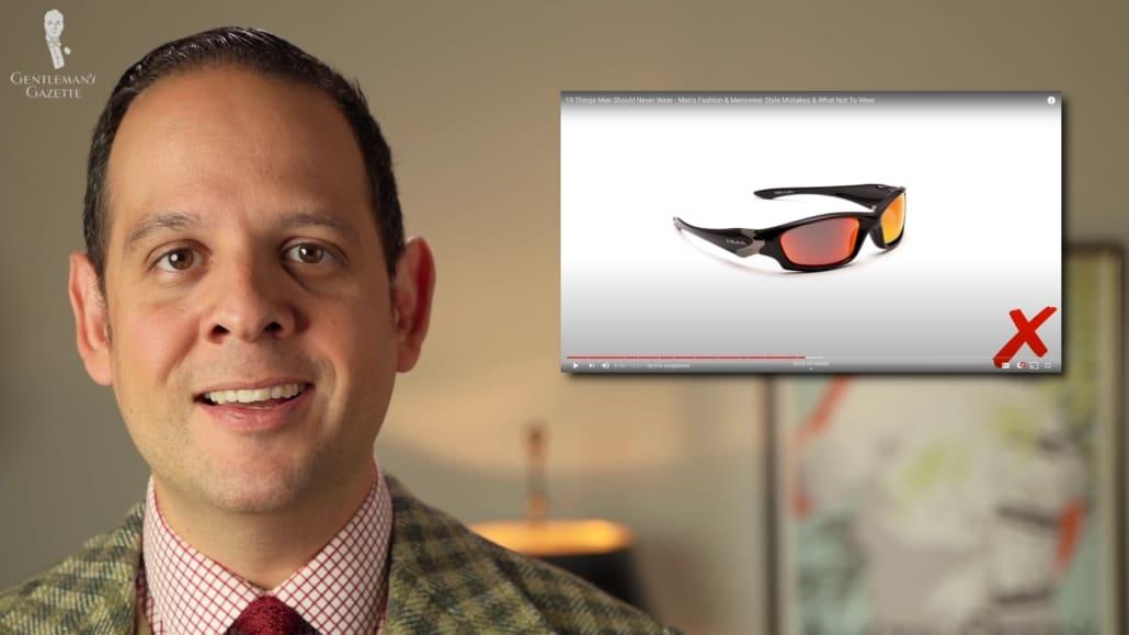 Sports sunglasses - a big no-no in classic men's style.