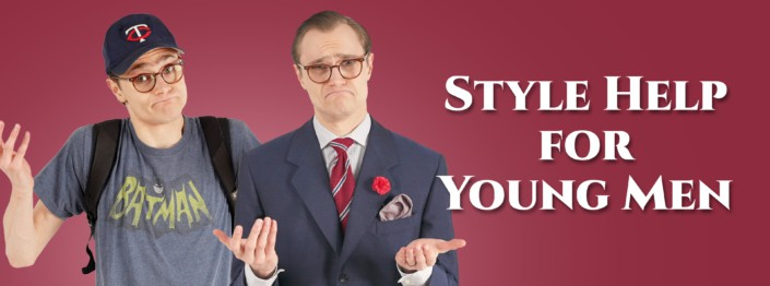 Style help for young men with Preston wearing a t shirt, backpack and baseball hat vs suit and tie