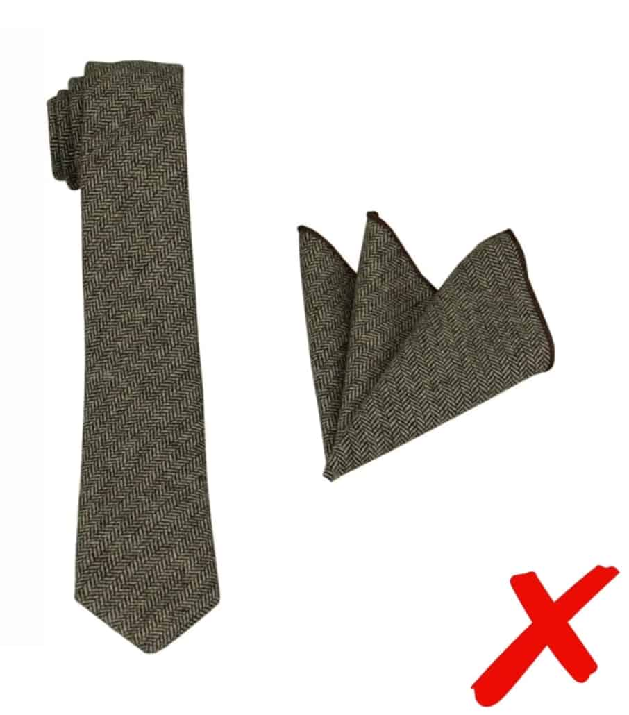 Matching tie-and-pocket-square sets are sartorially uninspired and often made from cheap fabrics).