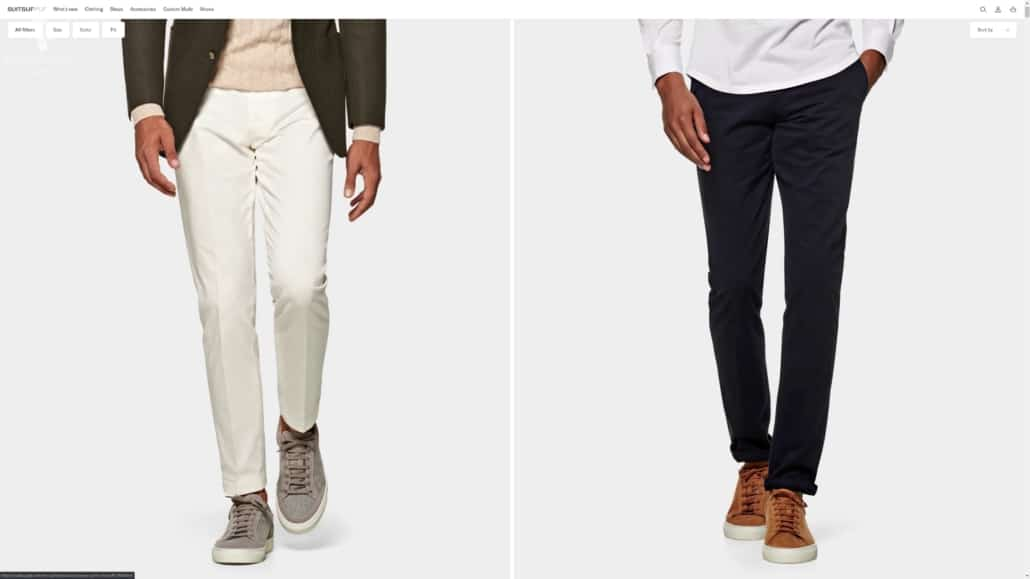 Suit Supply's pleated pants offerings