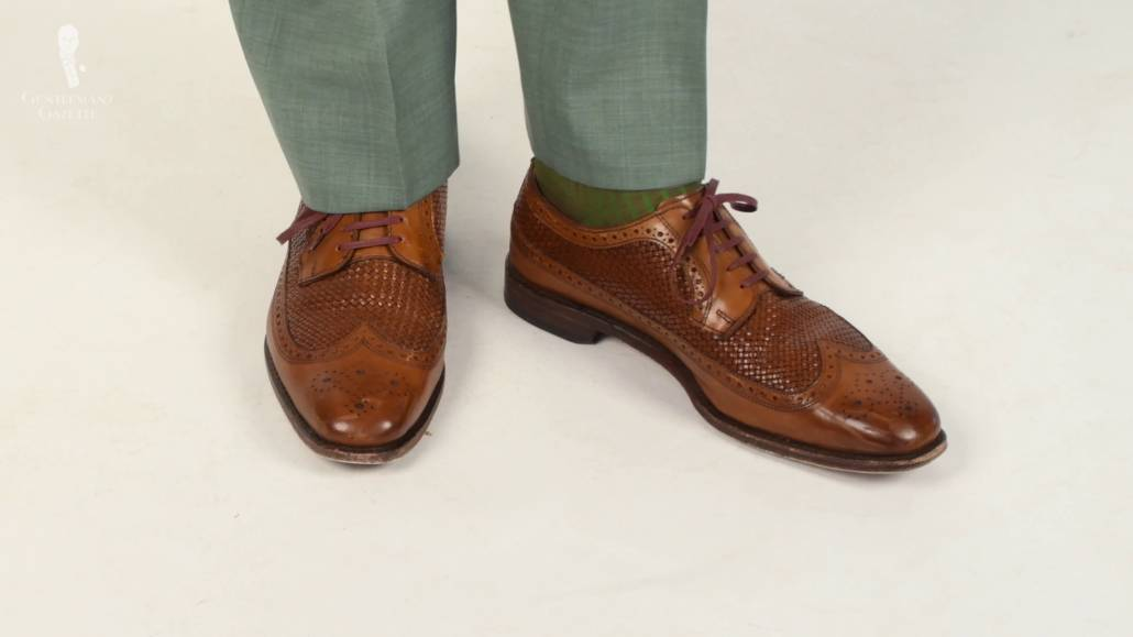 Mid-brown oxfords with embossed leather