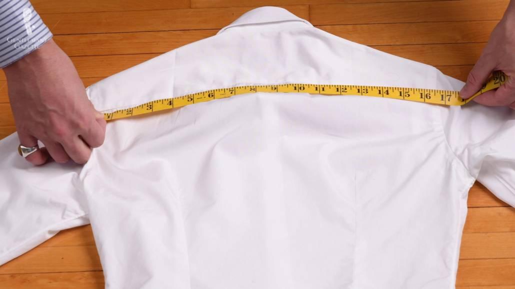 measuring a white dress shirt