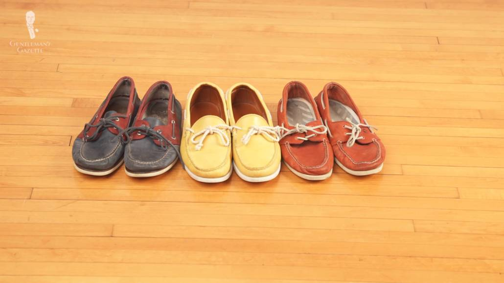 Boat shoes in navy, yellow and orange-red