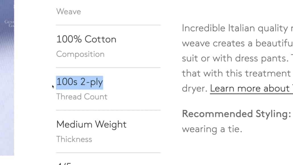 A shirt with a 2-ply fabric typically lasts longer.