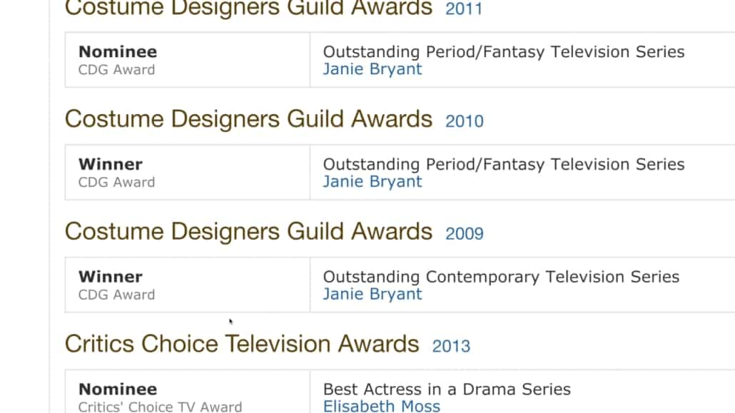 Mad Men Costume Designer Guild for Outstanding Costume Design in 2009 reference