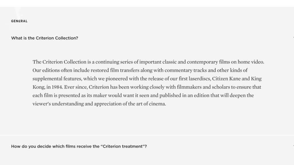 Criterion collection description