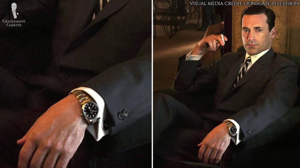 Draper wearing a Sapphire Crystal Rolex Explorer 1. He is also wearing a black 2 piece suit and a striped tie.