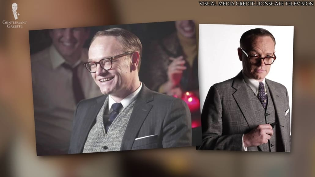 Two photos of Lane Pryce wearing different ensembles like tweed or glen shag or contrasting moleskin vests.