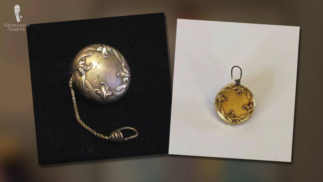 two gold retractable chain brooches