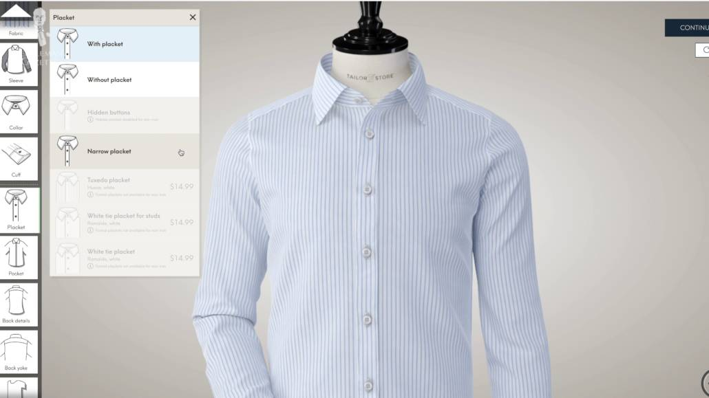 You can customize the details of your MTM shirts.