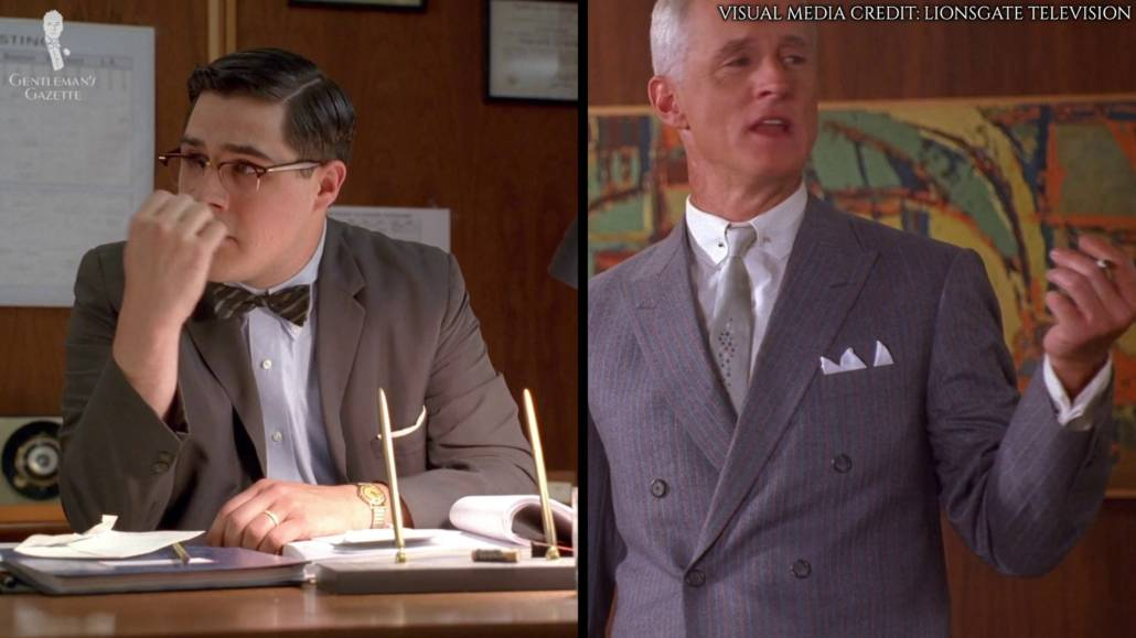 Both Roger Sterling and Harry Crane can be seen wearing jackets without working sleeve cuffs.