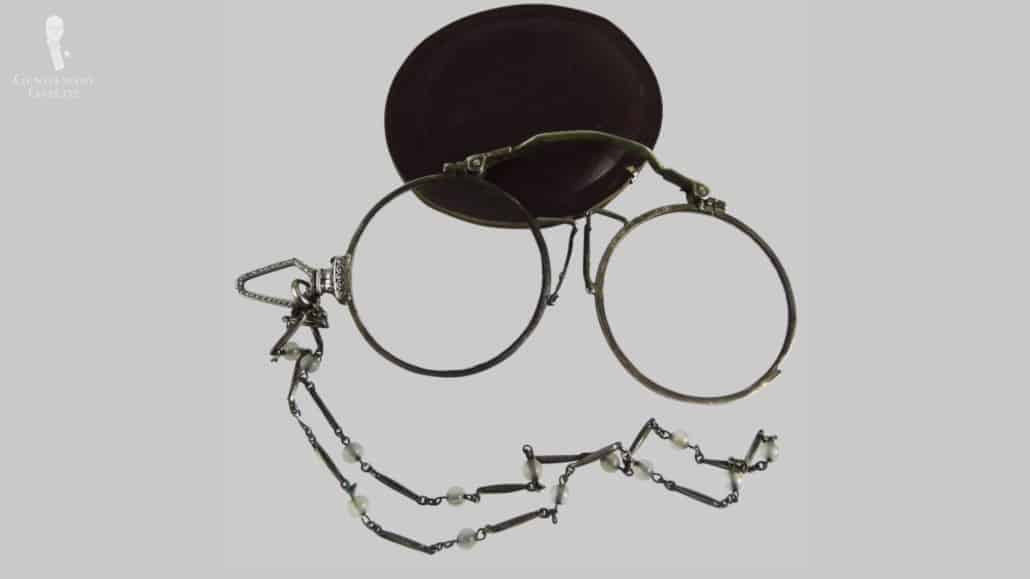 A vintage pince-nez or a pinch nose style glasses.