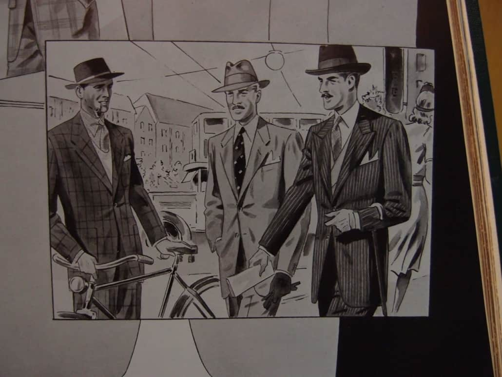 An illustration of gentlemen wearing suits in the 1940s